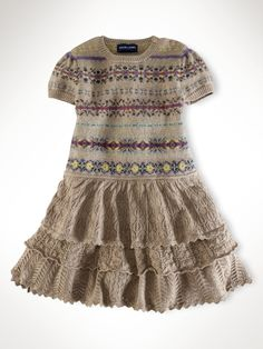 Lace and Fair Isle knitted dress. I could do this with an old sweater of mine and some lace! Knitting For Kids, Baby Knitting, Old Sweater, Fair Isle Knitting, Knitting Designs, Pretty Outfits, Knit Dress, Knitwear, Knit Crochet