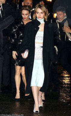 Leaving in style: Lily-Rose took the lead as the pair made their fashionable exit