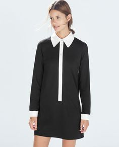 Discover the new ZARA collection online. The latest trends for Woman, Man, Kids and next season's ad campaigns. Stand Collar Shirt, Vestidos Zara, Collared Shirt Dress, Zara Outfit, Europe Fashion, Fashion 2014, Dressed To The Nines, Style Casual, Contrast Collar