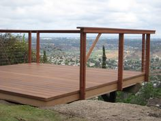 Cable Deck Railing View of Deck Railing Ideas… Horizontal Deck Railing, Deck Railings, Railing Ideas, Cable Railing Systems, Deck Design, Garden Bridge, Homesteading, Fence, New Homes