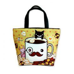 Kawaii mustache mug with cute animals - Bucket bag - BB1 | ChibiBunny - Bags & Purses on ArtFire