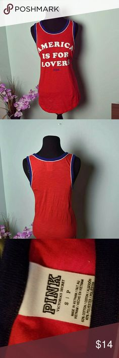 "PINK ""America is For Lovers"" Red Tank Top Only worn once. In excellent condition. Victoria's Secret Tops Tank Tops"