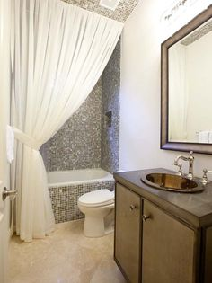 Bathroom Tile | Backsplash Ideas | Curtain Tie Back | Bathroom | Shower Curtain | Bath Accessories