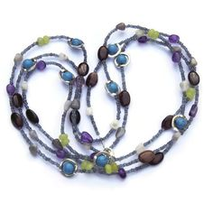 Triple Wrap Multicolored Bohemian Necklace, Semiprecious Jewelry,... (73 CAD) ❤ liked on Polyvore featuring jewelry, necklaces, multi color necklace, semi precious stone necklace, bohemian necklaces, wrap necklace and semi precious necklace