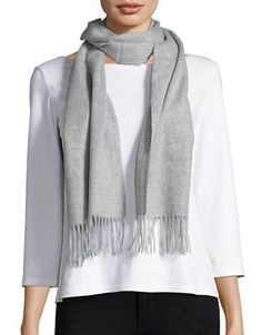 Lord & Taylor Fringed Cashmere Scarf Women's Grey
