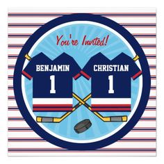 Ice Hockey Twins Jersey V2 1st Birthday Party Announcement