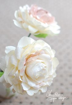Ivory and pale pink paper peony.