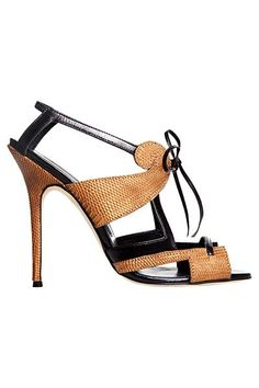 Manolo Blahnik Neutral Ankle High Stiletto Sandal Spring Summer 2012 #Manolos #Shoes #Heels