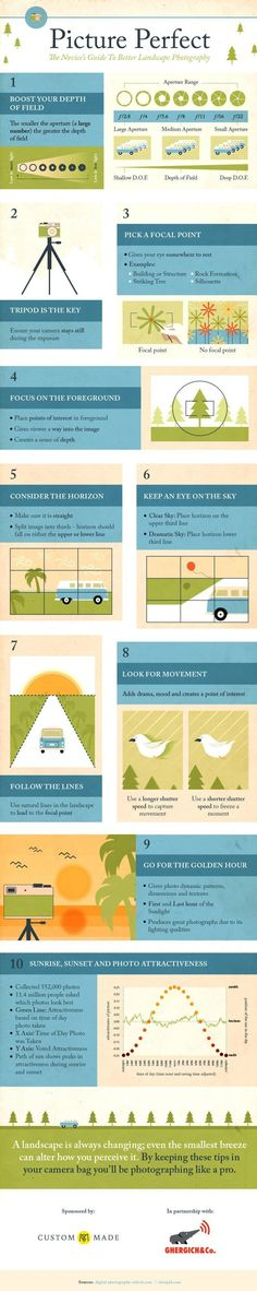 Today we came across this useful – for beginners – infographic to help new photographers improve their Landscape Photography. It is based upon our post – 11 Surefire Tips For Improving Your Landscape Photography. PS: We've included a few links below to help you further if you're interested in learning more! More Landscape Photography Tips … #LandscapeFotography