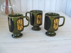 3 Atomic Pedestal Stacking Mugs by lookonmytreasures on Etsy