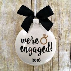 """Wedding Gift Engagement Ornament, Engaged Ornament, Personalized Engagement Gift, Engagement… - This beautiful """"We're Engaged Ornament"""" features a sparkly white glitter background with modern black Christmas Engagement, Engagement Ornaments, Wedding Ornament, Wedding Engagement, Our Wedding, Wedding Gifts, Dream Wedding, Engagement Pictures, Engagement Nails"""