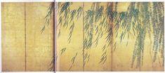 http://thewoodbetween.tumblr.com/post/121680344796/black-cat-and-bluebird-by-muramasa-kudo Willow. 長谷川等伯 Tohaku Hasegawa. Japanese folding screen.