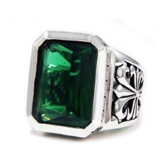 Emerald Green Cubic Zirconia/Table Cut/925 Sterling Silver Cross Ring/Fleur De Lis/Biker/Emerald Green/Silver Jewelry/Men's/Women's jo-r009 Sterling Silver Cross, Sterling Silver Pendants, Silver Jewelry, Fine Jewelry, Silver Skull Ring, Gothic Rings, Biker Rings, Iphone, Rings For Men