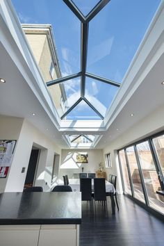 Glass Roof Extension, House Extension Plans, House Extension Design, Garden Room Extensions, Home Extensions, Bungalow Extensions, Flat Roof Skylights, Skylight Design, Glass Porch