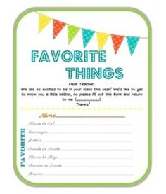 Teacher's Favorite Things