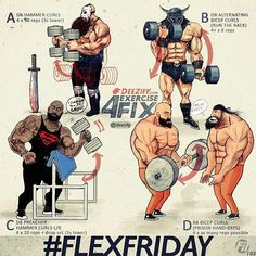 Via @deezify with @ezrepostapp #FlexFriday inspiration for the savage peeps . Some Bicep exercises for you to try. Different angles hand grips reps & tempo . Workout: Flex Friday 103 . A. DB Hammer Curls: 4 x 10 reps (3.0.1.0) B. DB Alternating Bicep Curls (run the rack): 4 x 8 reps C. DB Preacher Hammer Curls L/R: 4 x 10 reps drop set (3.0.1.0) D. BB Bicep Curls (prison hand-offs): 4 x as many reps possible Stay Savage my friends . _________________________ #deezify #powerlifting #f...