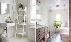 Saiba como usar plantas e flores no banheiro ou no lavabo. Banheiro branco com prateleira branca e planta ou banheiro com banheira.