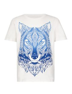 Pure Cotton Wolf Print T-Shirt (5-14 Years) | M&S