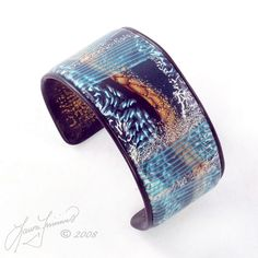 Ocean cuff bracelet made from polymer clay by Laura Timmins.