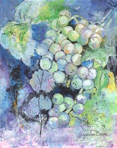 8x10 Pastel Grape Mixed Media Collage by Jacqueline Brown