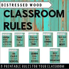 These distressed wood (teal blue) classroom posters include 8 important classroom rules and is perfect classroom decor for every room. They add a touch of class/rustic feel to any classroom. Works perfect with country theme, relaxed theme, shabby chic or beach themed classrooms.