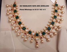 Beautiful gold necklace studded with multi color CZs. Necklace with south sea pearl hangings. New designs of Cz necklaces from 35 gms on wards. Visit for full variety. Contact no 8125 782 24 August 2018 Gold Earrings Designs, Gold Jewellery Design, Gold Designs, Necklace Designs, Fancy Jewellery, Designer Jewellery, Antique Jewellery, Bridal Jewelry, Jewelry Gifts