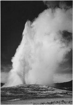 Old Faithful Geyser, Yellowstone National Park by Ansel Adams   #Photography   #Art