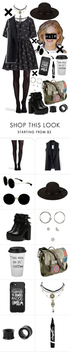 """Coffee Undertaker"" by xxx-marshmallow-of-death-xxx ❤ liked on Polyvore featuring SPANX, Old Navy, Miu Miu, San Diego Hat Co., Hot Topic, Marvel, Casetify and Maybelline"