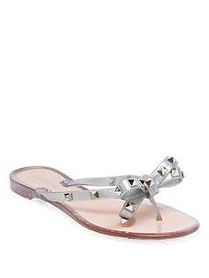 4b1c5d0a2 Valentino Garavani - Rockstud Metallic Jelly Thong Sandals