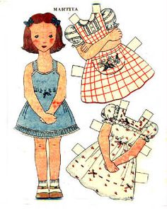 """paper dolls....cutting out all those pieces and folding the """"tabs"""" over to keep the clothes on!!!"""