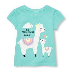 Toddler Girls Short Sleeve 'No Prob-llama Mama!' Graphic Tee