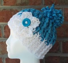 Blue and White Skull Cap with Pompom