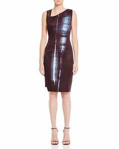 $448 Elie Tahari Reversible Herika Scuba Asymmetric Sheath Dress 8 NWT E467 #ElieTahari #SheathDress #Cocktail