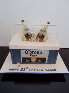 Two Tone Corona Birthday Cake With Glasses That Have Jelatine - Corona birthday cake