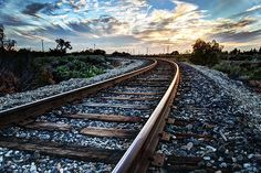 Train tracks at sunset. Walking The Rails by Aron Kearney Photography Fine Art Prints and Posters for Sale