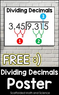This free poster shows the steps of decimal division. It can be given as a handout for student notebooks and binders or added to your classroom bulletin board for students to reference. Includes both color and black and white printable posters. Also linked inside is a blog post teaching how to enlarge any PDF to a multi-page poster on any home printer. Teaching 6th Grade, 5th Grade Math, Teaching Math, Dividing Decimals, Percents, Classroom Bulletin Boards, Classroom Posters, Math Fractions, Maths