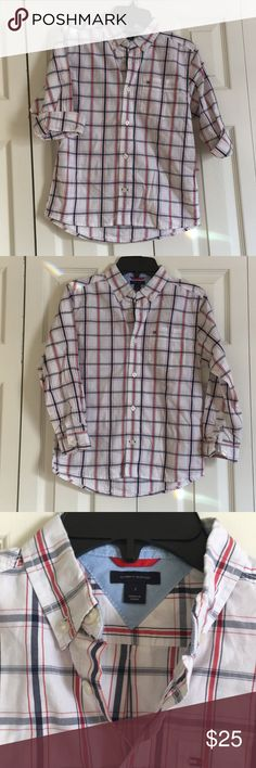 NWT Tommy Hilfiger button down boy's shirt Brand new Tommy Hilfiger button down with white pearl buttons and front chest pocket. I will steam before sending! BUNDLE WITH THE NAVY CHINOS FOR A CUTE COMPLETE LOOK. Tommy Hilfiger Shirts & Tops Button Down Shirts