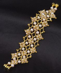 Diamonds Are Forever in Gold: A Beadwoven Bracelet. $160.00, via Etsy.  #Beads #Bracelet #Gold #Pearls #Seed #Weave