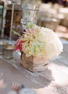 birch wrap centerpiece, strip of lace fabric over the table