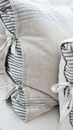 For feather back pillows on sofa I like this peek a boo stripe pillow case. I have the striped pillows already! Pillow Shams, Pillow Cases, Vibeke Design, Deco Nature, Linens And Lace, Linen Pillows, Rustic Pillows, Pillows On Bed, Sofa Cushions