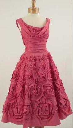 50'S Ceil Chapman Rose Pink Silk Party Dress. Image ©  Blue Velvet Vintage.