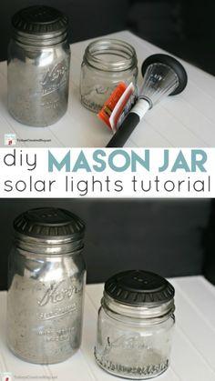 Diy Solar, Solar Light Crafts, Mason Jar Solar Lights, Mason Jar Lighting, Mason Jar Lanterns, Bottle Lights, Mason Jar Projects, Mason Jar Crafts, Tinting Mason Jars Diy