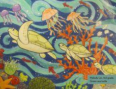 Art Contest Winner, Grades 3-5: Green sea turtle, Melody Lin, Age 8, Apple Art Studio