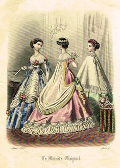 "VINTAGE FRENCH FASHION PRINT - DESCRIPTION - This hand colored Victorian lithograph print is from ""LE MONDE ELEGANT"". It was published in Paris in about 1865. - CONDITION - This print has an image tha"
