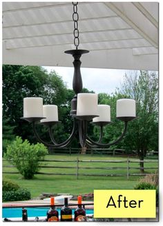 DIY outdoor chandelier, easy!  credit: In My Own Style [http://inmyownstyle.com/2011/06/how-to-make-a-thrifty-knock-off-outdoor-candle-chandelier.html]