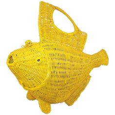 Preowned Whimsical 1950's Large Yellow Wicker Fish Novelty Handbag ($450) ❤ liked on Polyvore featuring bags, top handle bags and yellow