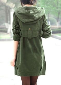 Pocket Zipper Up Hooded Collar Army Green Coat on sale only US$45.93 now, buy cheap Pocket Zipper Up Hooded Collar Army Green Coat at liligal.com
