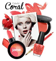 """""""Colorful coral"""" by cly88 ❤ liked on Polyvore featuring beauty, Elizabeth Arden, Hourglass Cosmetics, Bobbi Brown Cosmetics, Estée Lauder, OPI, jane, Beauty, coral and nailpolish"""