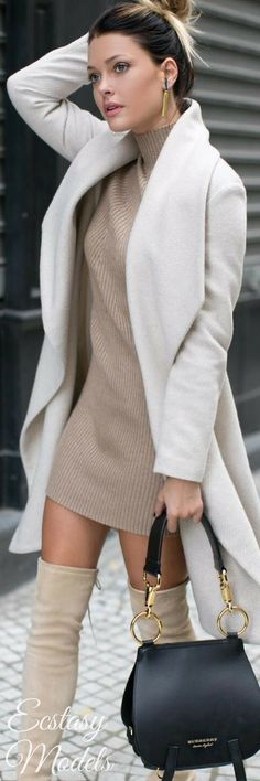 Cold ShoulderMissguided cold shoulder ribbed knitted mini dress Fashion Look by Caroline Receveu