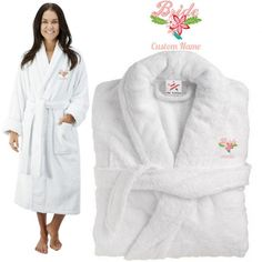Deluxe Terry cotton with bride fancy flowers CUSTOM TEXT Embroidery bathrobe e61a88fc9